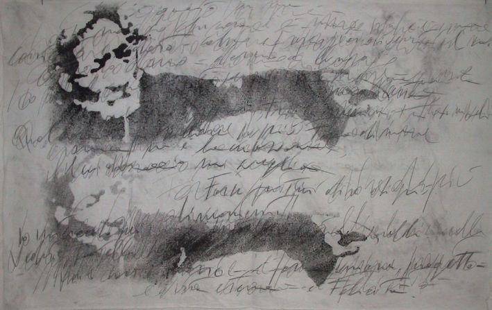 """autore: Francesca Scammacca - """"C'è questo in me"""" - acrilici, grafite e carboncino su tela - cm 128x81 - 2001"""