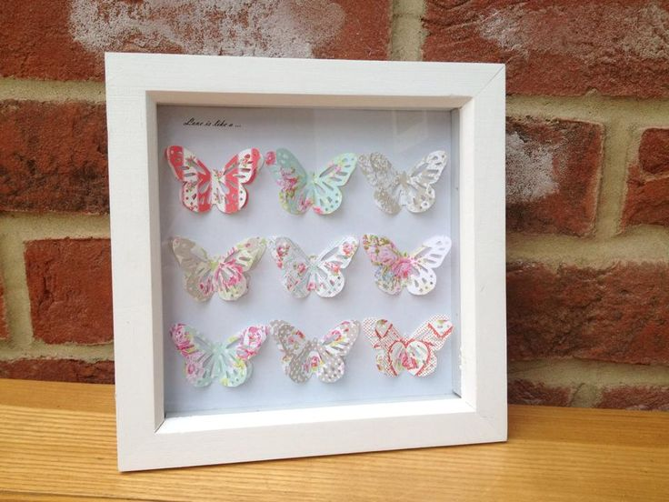 "'Love is like a butterfly' picture with nine butterflies in florals.  Can be made in any colour.  Frame size 6x6"". Made to order. £14 + £4 p&p"