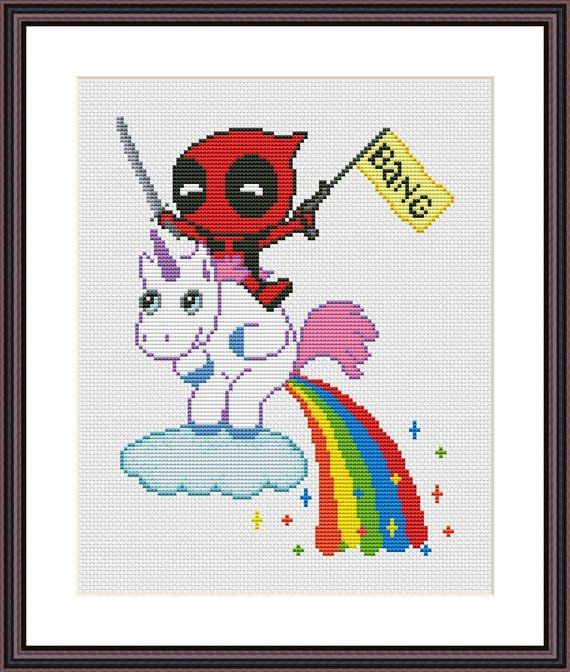 Deadpool and Unicorn Funny Cross Stitch PDF Pattern Baby Deadpool