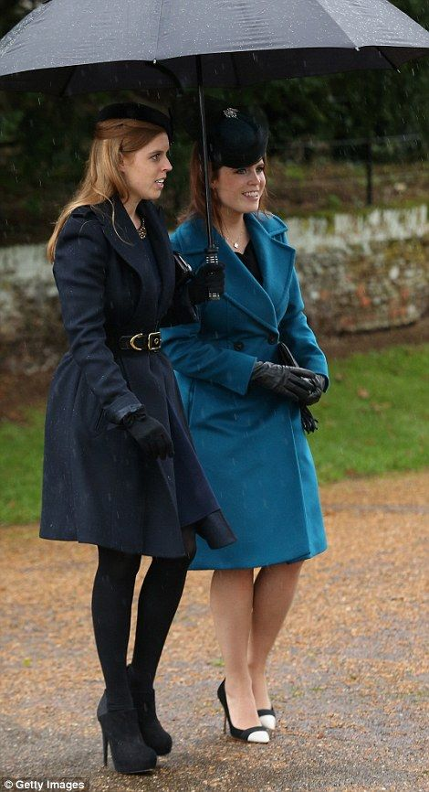 Princess Beatrice and Princess Eugenie made their way out of the church together...