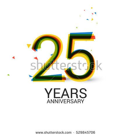 25 Years Anniversary. Layered and Colorful. Logo Celebration Isolated on White Background
