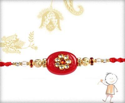 Fancy Rakhi-Exclusive Kundan Rakhi with Diamond rings Mauli Rakhi