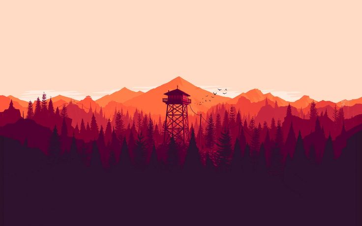 Download wallpaper kentucky route zero, kentucky, forest, trees, birds, mountains, tower, minimalism resolution 1680x1050