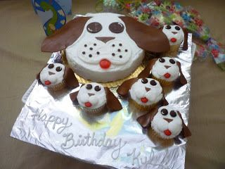 Creative Cakes by Jana: Puppy Dog Cake and Matching Cupcakes