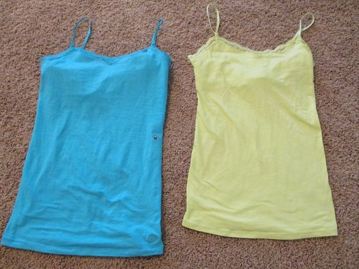 LOT of 2 Aeropostale Cami Juniors Size M Medium Yellow/Green and Aqua  EUC #Aeropostale #TankCami