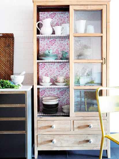 Wallpaper the back of your cabinets  // 9 Tips For Beautiful Organization