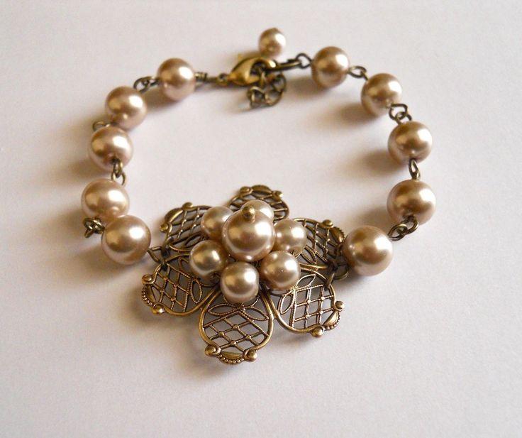 Pearl Flower Bracelet - Bronze pearls Bracelet Pearls flower Antiqued brass flower wedding bronze bracelet Free Shipping gift 21.00 USD Available at http://ift.tt/1NM3wVS