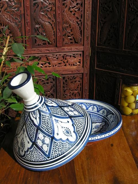 Large Moroccan blue and white pattern serving tagine