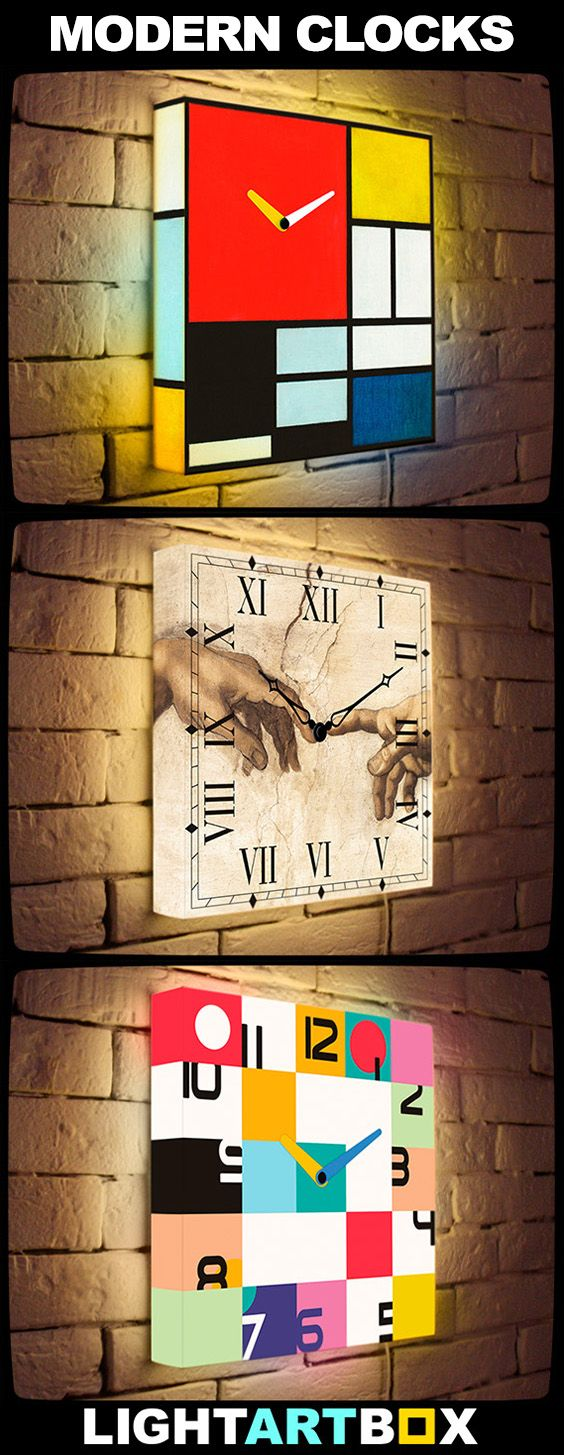 Modern Art Clock - home decor trend 2016! Custom Light Clocks ● LightArtBox.com