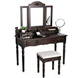 #ad  #6: SONGMICS Vanity Set Tri-folding Mirror Makeup Dressing Table with Cushioned Stool 7 Drawers 6 Organizers Brown URDT06Z  https://www.amazon.com/SONGMICS-Tri-folding-Cushioned-Organizers-URDT06Z/dp/B071RFT7R3/ref=pd_zg_rss_ts_hg_3733291_6?ie=UTF8&tag=a-zhome-20