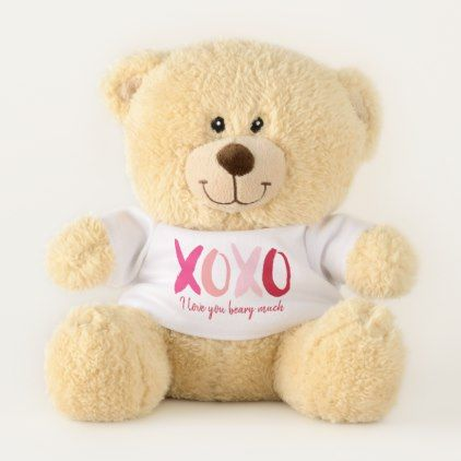 XOXO Sweet Valentine Message Teddy Bear - valentines day gifts love couple diy personalize for her for him girlfriend boyfriend