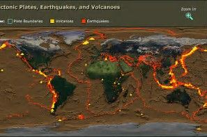 Earthquakes and volcanoes places on world map.
