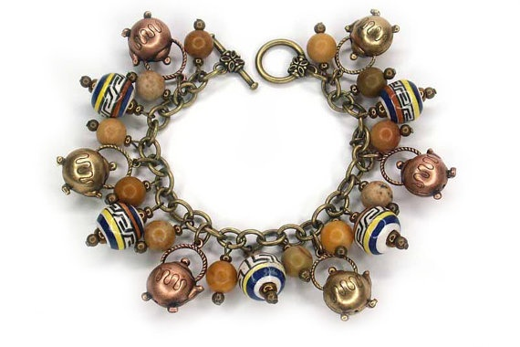 Peruvian Tea Charm Bracelet by HScharmcreations on Etsy, $120.00