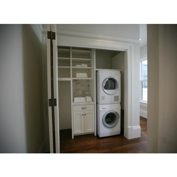 laundry/mud rooms - white stacked front-load washer dryer closet White stacked front-load washer & dryer in closet. found on Polyvore
