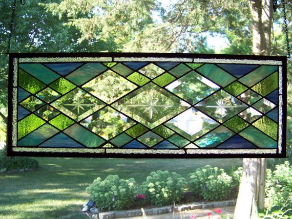 stained glass windowStained Glass Panels, Stained Glass Windows, Glasses Panels, Blue Green, Glasses Ideas, 30Th Anniversaries, Glasses Windows, Diamonds Shape, Stained Glasses