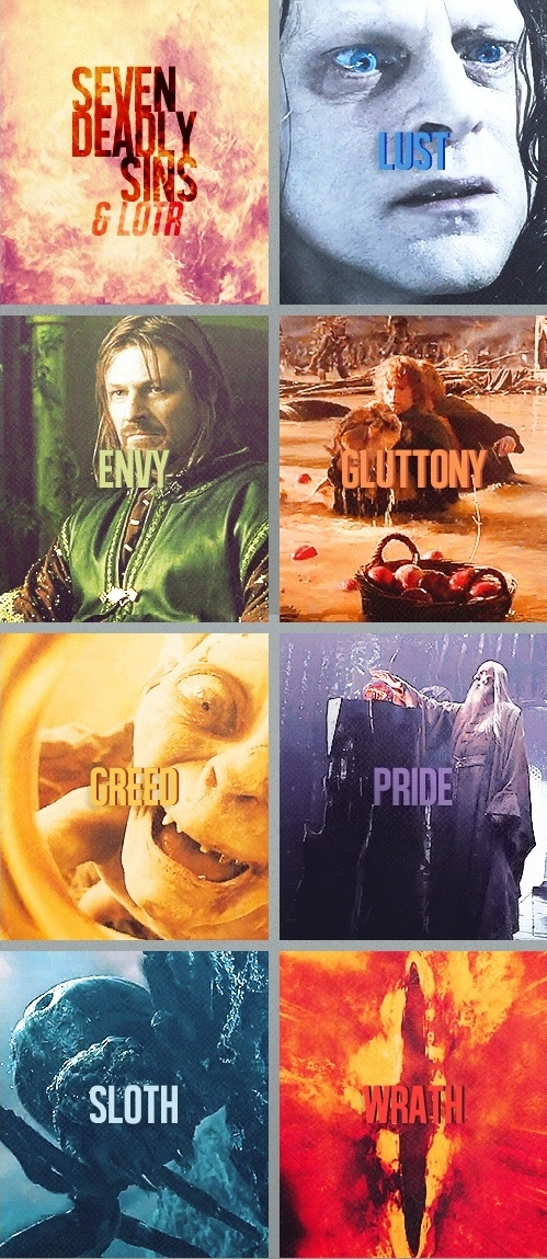 (gif set) The Seven Deadly Sins in the Lord of the Rings. Is Shelob the sloth because she just chills and waits for food?