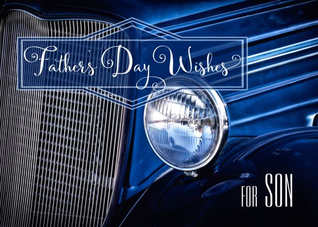 for Son on Father's Day in a Classic Car Denim Blue Them card