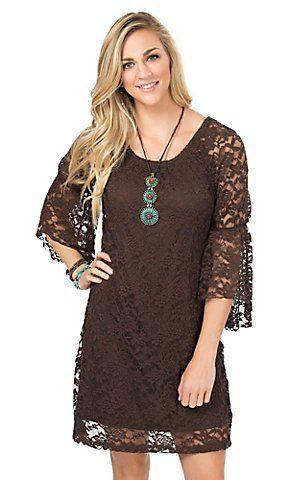 Jody Women's Brown Lace 3/4 Bell Sleeve Dress