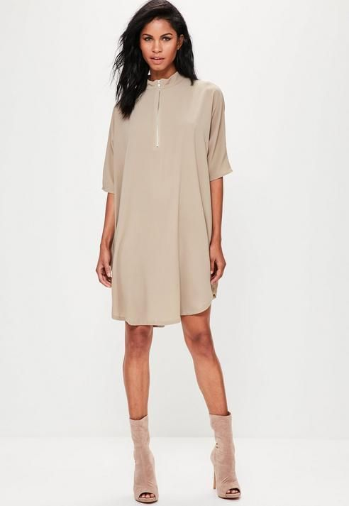 Missguided Oversized Zip Front Dress Nude