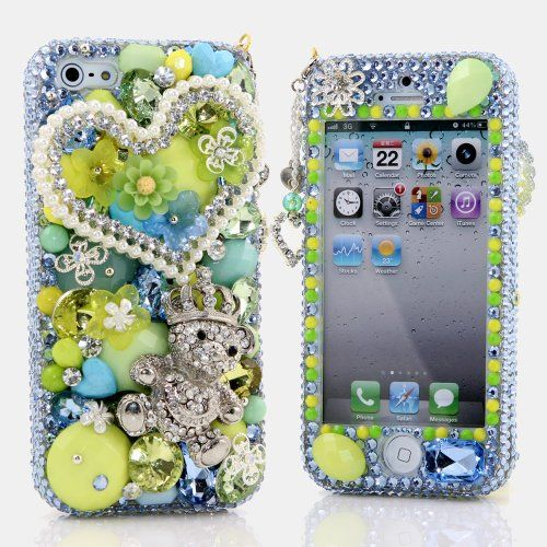 BlingAngels® 3D Luxury Bling iphone 5 5s Case Cover Faceplate Swarovski Crystals Diamond Sparkle bedazzled jeweled Design Front & Back Snap-on Hard Case + FREE Premium Quality Stylus and Water-Resistant Bag (100% Handcrafted by BlingAngels) (Pearls Heart with Bear Crown) This case is custom handmade by BlingAngels. Please check our store for other designs! Please purchase from BlingAngels ONLY ... #BlingAngels #Wireless