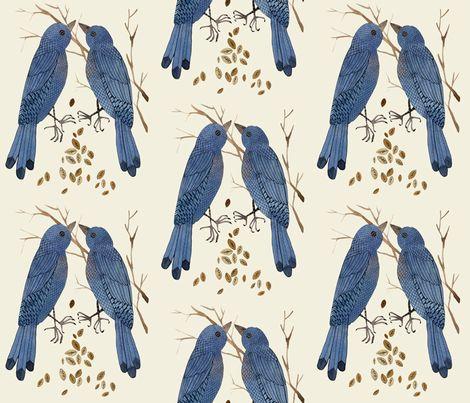 bluebirds natural fabric by gollybard on Spoonflower - custom fabric