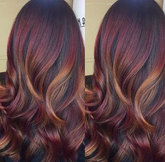 Mahogany red gold hair color