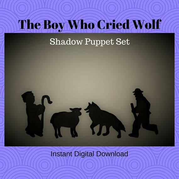 Instant Download The Boy Who Cried Wolf shadow puppet set