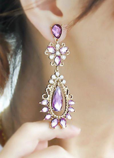 Purple Gemstone Gold Drop Earrings