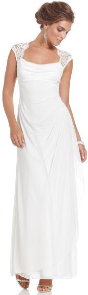 Xscape Xscape Dress Capsleeve Lace Evening Gown in White (Ivory)