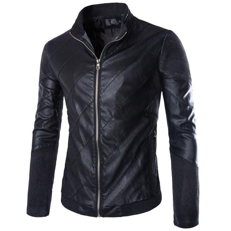 Yüksek kalite erkekler motosiklet deri ceket artı boyutu moda rahat erkek ince karmaşık denim splice pu coat boyut m-5xl y207(China (Mainland))