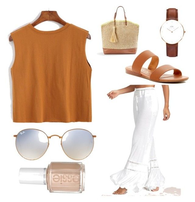 Summer eve by tymarahshand on Polyvore featuring polyvore, fashion, style, Italian Shoemakers, Ann Taylor, Daniel Wellington, Ray-Ban, Essie and clothing