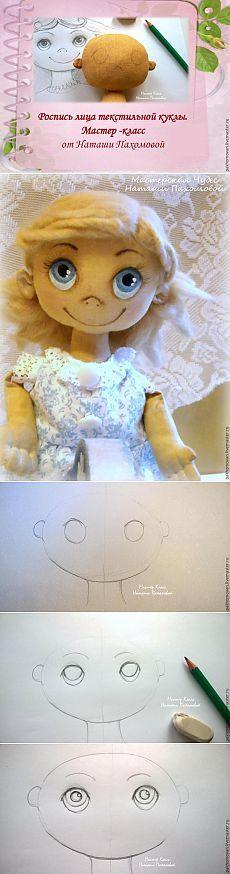 Naučte se, jak oživit textilní panenku: malování na obličej