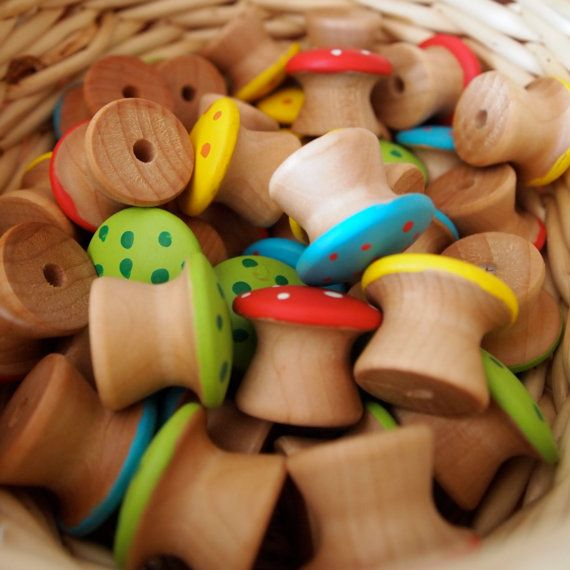 These Waldorf counting toadstools would suit the Reggio philosophy too. Wooden drawer pulls can be painted by the children! So great for small world play!