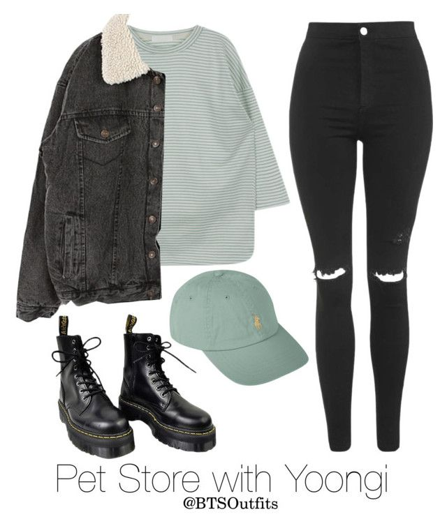 """""""Pet Store with Yoongi"""" by btsoutfits ❤ liked on Polyvore featuring Topshop, Dr. Martens and Polo Ralph Lauren"""