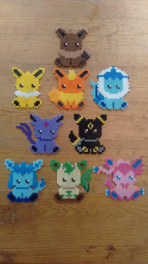Eeveelution Sprite Magnets set of 9 - Pokemon perler beads by NesPs