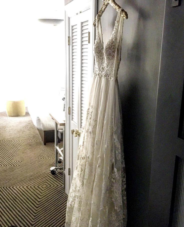 Vintage Wedding Dress Lace Lace Trim V Neckline Emilia By Flora