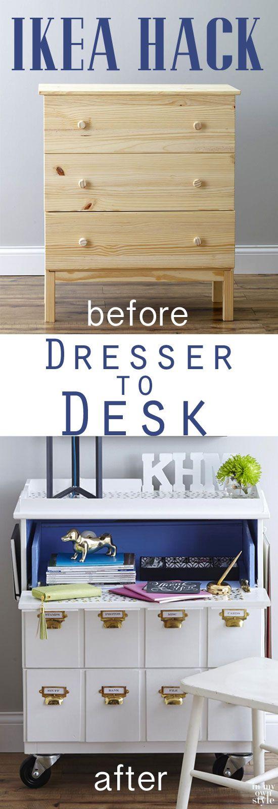 Furniture Makeover IKEA hack Tarva Dresser into a Rolling Desk