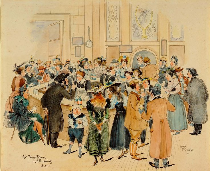 The Royal Pump Room in full swing in this watercolour of 1894 by Herbert P Templar. The roads outside the pump room were closed to traffic every morning from 7.00am until 9.00am and crowds gathered ready to take their water.