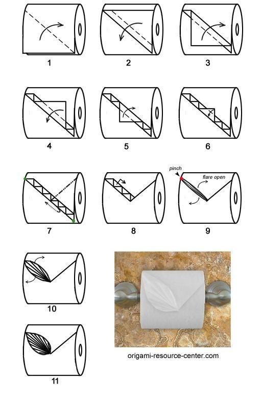 Leaf toilet paper origami