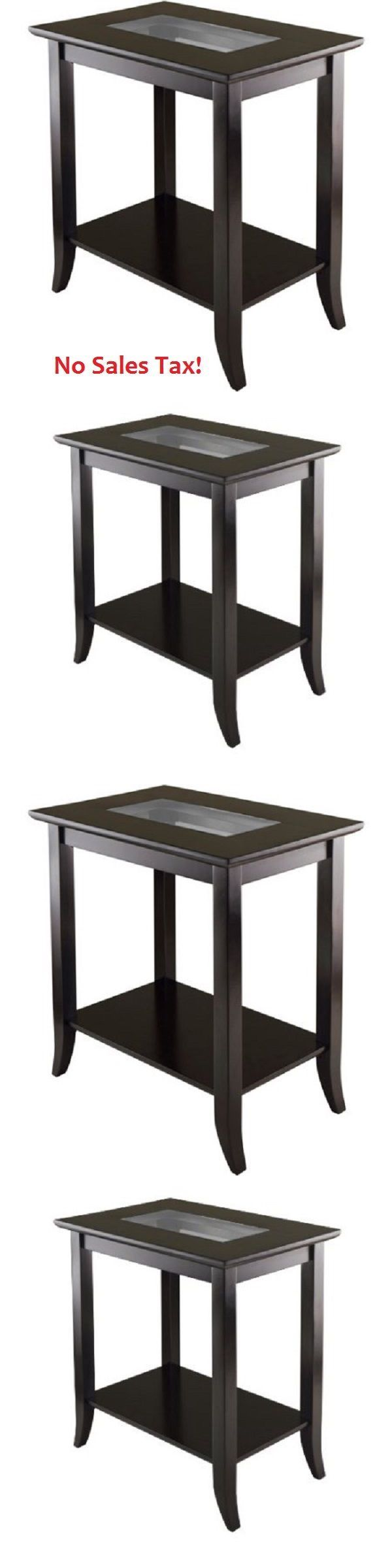 Tables 38204 Square End Table With Glass Top Side Furniture Espresso Buy It