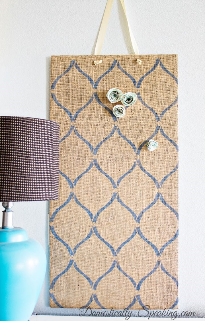 DIY Stenciled Burlap Magnet Board using the Hourglass Stencil from Cutting Edge Stencils.