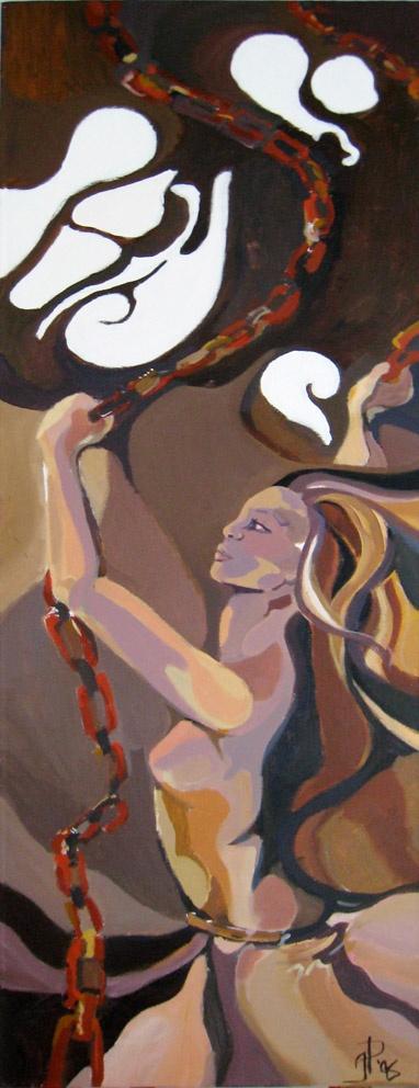 Pilven Reunan taa, Behind the Clouds 2006  40 x 120 cm  akryyli / acrylics