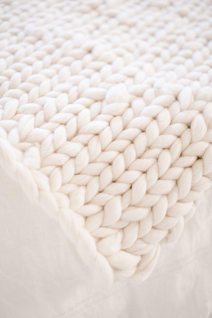 how to hand knit a throw blanket via LaurenConrad.com