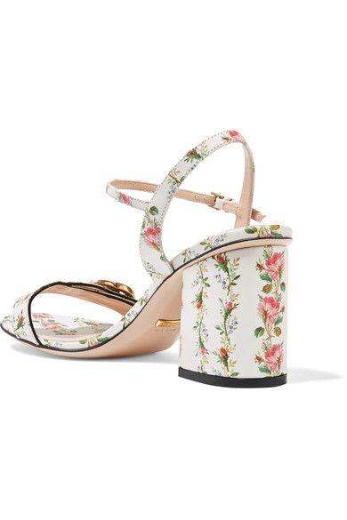 Gucci - Floral-print Leather Sandals - White - IT41.5