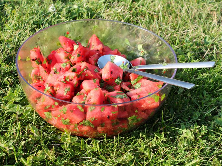 Watermelon salad with mint and chili