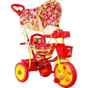 Jaguar Трехколесный велосипед (MS-0737) красный  — 2600р. ------ Размеры (ВхШхГ) 445x285x590 мм    Возраст ребенка От 10 месяцев  Дополнительная информация  Трехколесный велосипед для детей на возраст от 10 месяцев до 2 лет. Комплектация: - Тент; - Музыкально-световая кнопка, - Увеличенные колеса; - Ручка управляющая передним колесом; - Мягкая резина; - Корзинка 2шт; - Страховочный обод и сетка; - Подножка; - Регулировка седла; -