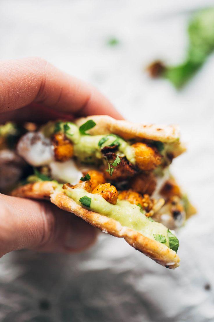 Roasted Veggie Pita with Avocado Dip. Sub out pita bread