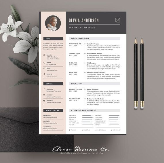 ✚ WELCOME TO DRACA RESUME!  We create professional resume template that help you stand out from the crowd and increase the possibility to get your dream career . These templates were created using modern designs, elegant styles, and sophisticated to make it easy-to-read layouts. Perfect for creative minded peoples! We wish you good luck for your job interview!  -----------------------------------------------------------------------------------------------------  Download this template for a…