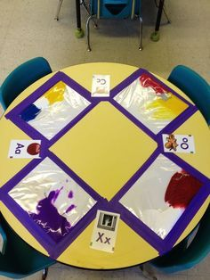 Ziploc bags with tempera paint. We practiced color mixing, fine motor skills, sensory exploration, and letter writing. It felt like getting messy... without the mess! Again, just a picture no link but so worth sharing this GREAT idea.