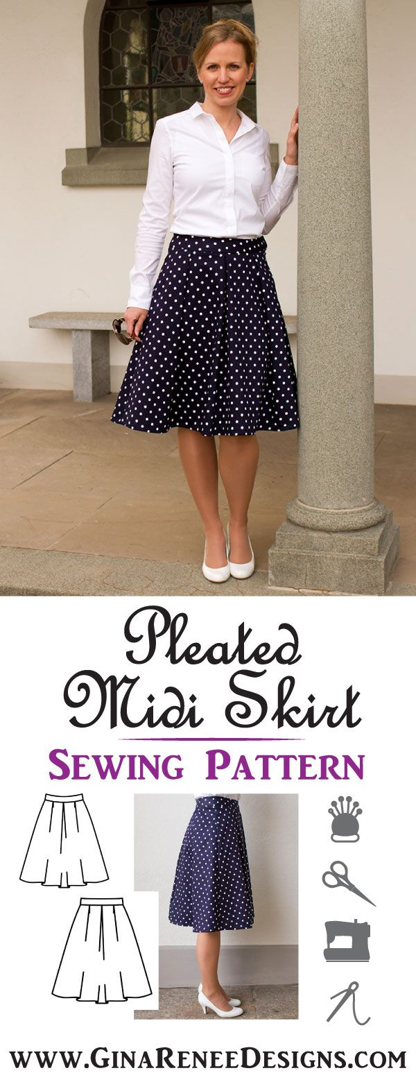 Elegant Modern Midi Skirt Sewing Pattern; pleated short skirt pattern by Gina Renee Designs